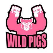 Wild pigs logo for sports team. Angry pig. Aggressive big boar. grumpy farm a Stock Illustration