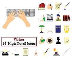 Set of 24 Writer Icons Piirros