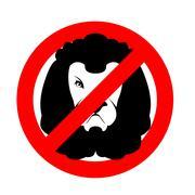Stop lion. Prohibited wild animal. Emblem against predator. Red prohibition s Stock Illustration