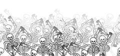 Sinners in fire hell horizontal pattern. dead in  Gehenna. Skeletons screamin Stock Illustration