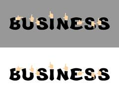 Business typography. Pointing hand alphabet. Businessman hand ABC. Letters in Stock Illustration