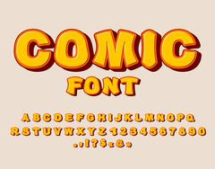 Comic font. Bang  alphabet. Bright cartoon ABC. yellow letters Piirros