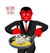 Satan roasts sinners in pan. Skeletons in boiling oil. hellish torments. Devi Stock Illustration