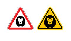 Warning sign lion attention. Dangers yellow sign wild animal. Aggressive beas Piirros