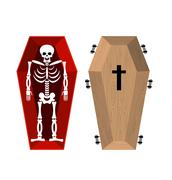Skeleton in coffin. Open casket and skull and bones. Dead man in hearse. Illu Piirros