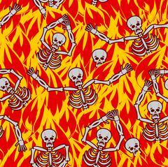 Sinners in fire hell seamless pattern. dead in Gehenna. Skeletons screaming f Piirros