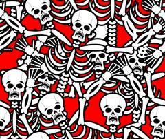 Hell seamless pattern. Skeleton in Sinners background. Ornament of dead. Bone Stock Illustration
