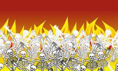 Sinners in fire hell horizontal pattern. dead in  Gehenna. Skeletons screamin Piirros