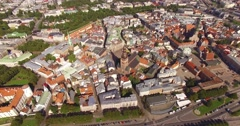 4K - Center of the old European city. Aerial view Stock Footage