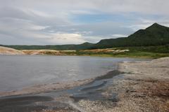 Kunasir Kurils islands Rocks Russia Stock Photos