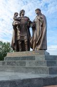 Monument to Prince Alexander Nevsky and his wife, Vitebsk, Belarus Stock Photos