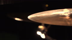 Close up of drumsticks hitting cymbals Stock Footage