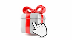 Cursor clicking on gift Stock Footage