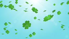 Falling Clovers - 3D, Blue color Background Stock Footage