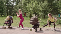 Stroller Side Lunge Stock Footage