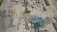 Overhead drone shot of cement factory, development, industry China Stock Footage