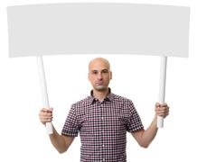 Man holding protest sign. Demonstration concept. Stock Photos