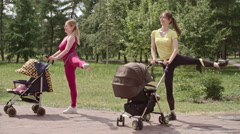 Standing Side Leg Raise with Strollers Stock Footage