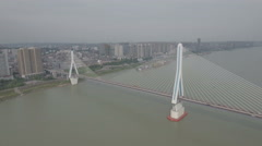 Aerial shot of bridge over the Yangtze river in Yichang, China Stock Footage