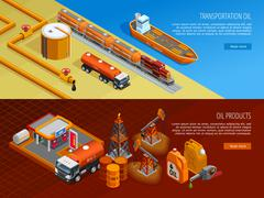Oil Industry Isometric Webpage Banners Set Stock Illustration