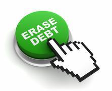 Erase debt button concept  3d illustration Stock Illustration
