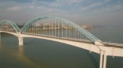 China transportation, Yangtze river bridge, high speed railway network Stock Footage