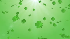Falling Clovers - 3D, Green color Background Stock Footage