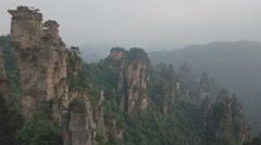 Drone shot unusual rock formation, mountain landscape Zhangjiajie China Stock Footage