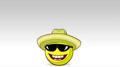 Cheerful lemon in a sombrero and sunglasses jumping with joy Stock Footage