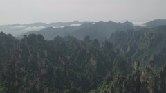 High angle aerial view of mountain ranges Zhangjiajie national park in China Stock Footage