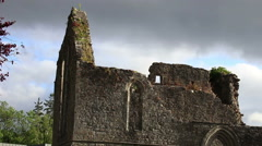 Old Irish Celtic Church Ruins in Ireland Close Up  Stock Footage