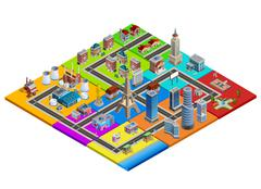City Map Constructor Colorful Isometric Image Stock Illustration