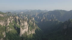 Surreal mountain scenery, steep cliffs, Zhangjiajie national park China Stock Footage
