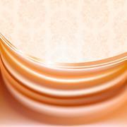 Peachy curtain, silk tissue on beige background Stock Illustration