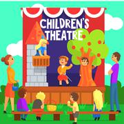 Amateur Children Theatre Performance Of A Fairy Tale Stock Illustration