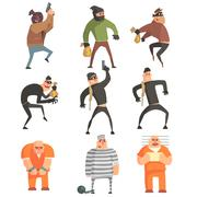 Criminals And Convicts Funny Characters Set Stock Illustration