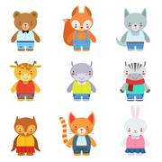 Toy Kids Animals In Clothes Stock Illustration