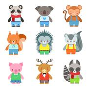 Toy Animals Dressed Like Kids Characters Set Stock Illustration