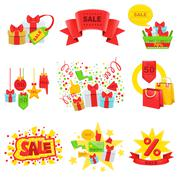 Sale And Promotion Ad Template Set Stock Illustration
