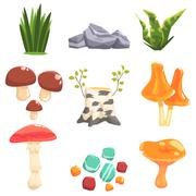 Woods Landscape Natural Elements, Plants And Mushrooms Stock Illustration