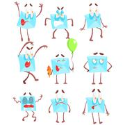 Mail Envelop Cartoon Character Emotion Illustrations Set Stock Illustration