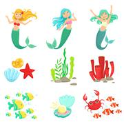 Mermaids And Underwater Nature Stickers Stock Illustration