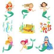 Fairy Tale Mermaids And Related Objects Set Stock Illustration