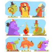 Monsters Hiking And Camping Stock Illustration