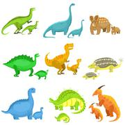 Different Dinosaurs In Pairs Of Big And Small Stock Illustration