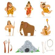 Stone Age Tribe People And Related Objects Stock Illustration