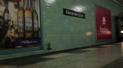 Low shot of Yellow U-Bahn Train at Alexandraplatz Stock Footage