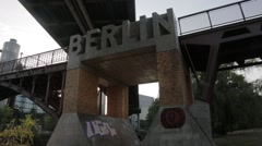 Concrete Berlin Sign on Bridge Stock Footage