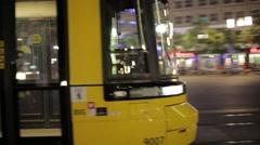 Tracking shot of Berlin Tram in Alexandraplatz Stock Footage