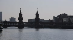Wide Shot of Oberbaum Bridge in Berlin Germany Stock Footage